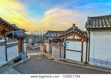 Bukchon Hanok Village And Seoul City Skyline When Sunrise With Seoul Tower, Seoul, South Korea