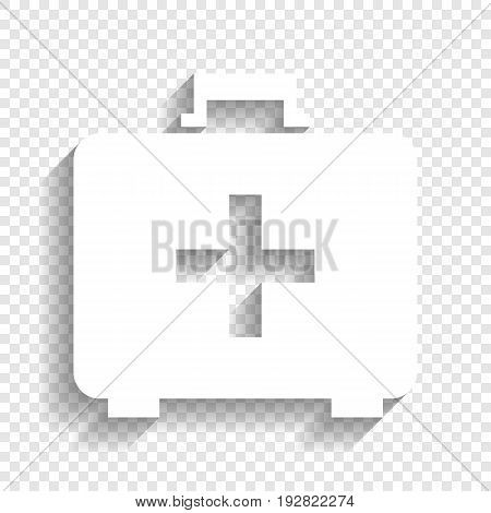 Medical First aid box sign. Vector. White icon with soft shadow on transparent background.