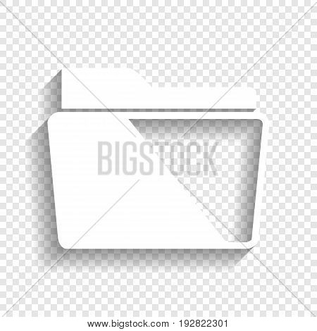 Folder sign illustration. Vector. White icon with soft shadow on transparent background.