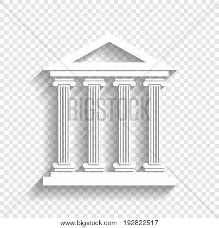 Historical building illustration. Vector. White icon with soft shadow on transparent background.
