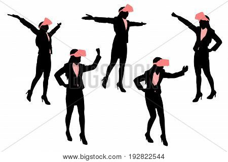 silhouette of businesswoman wear vr and feel free