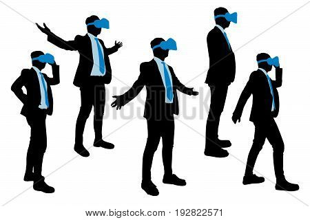 silhouette of businessman wear vr and feel free