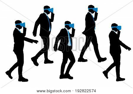 silhouette of businessman wear vr and walk