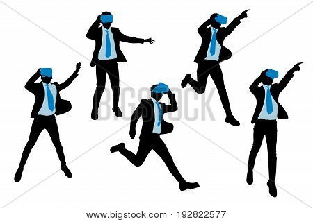 silhouette of businessman wear vr and jump
