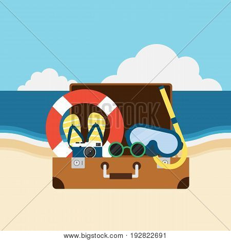Travel to the beach summer elements flat design vector illustration