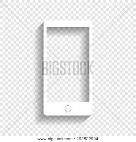 Abstract style modern gadget with blank screen. Template for any content. Vector. White icon with soft shadow on transparent background.