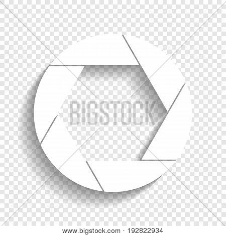 Photo sign illustration. Vector. White icon with soft shadow on transparent background.
