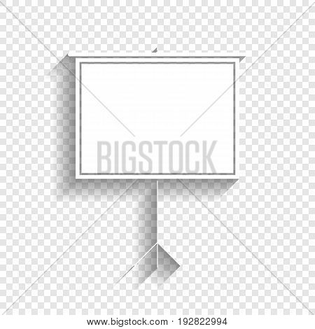 Blank Projection screen. Vector. White icon with soft shadow on transparent background.