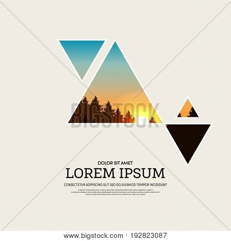 Abstract geometric sunset landscape poster background design element template can be used for backdrop book cover cd cover brochure leaflet vector illustration