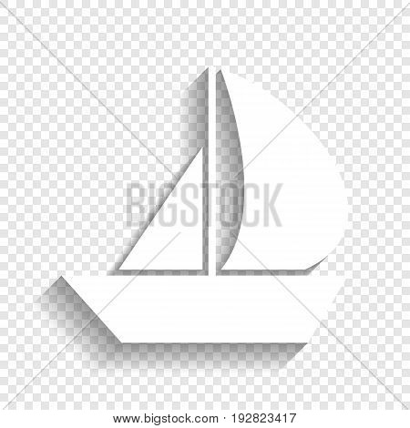 Sail Boat sign. Vector. White icon with soft shadow on transparent background.