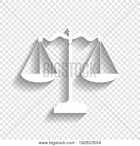 Scales balance sign. Vector. White icon with soft shadow on transparent background.