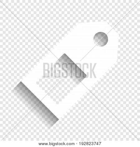 Price tag sign. Vector. White icon with soft shadow on transparent background.