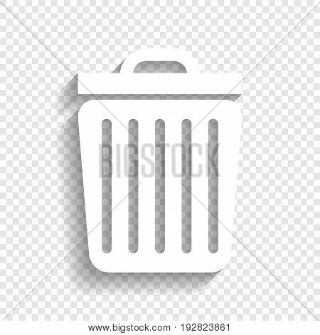 Trash sign illustration. Vector. White icon with soft shadow on transparent background.