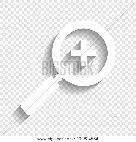 Zoom sign illustration. Vector. White icon with soft shadow on transparent background.