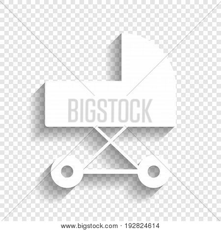 Pram sign illustration. Vector. White icon with soft shadow on transparent background.