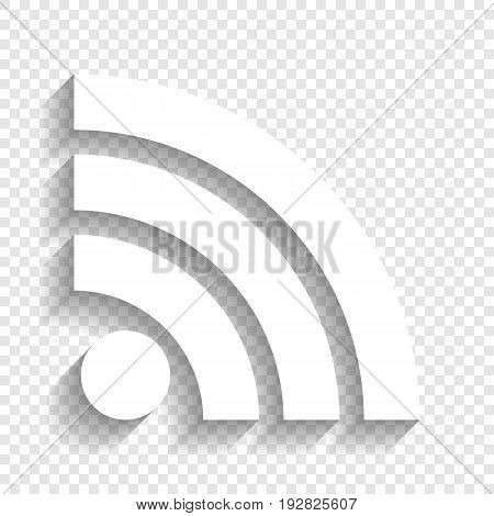 RSS sign illustration. Vector. White icon with soft shadow on transparent background.