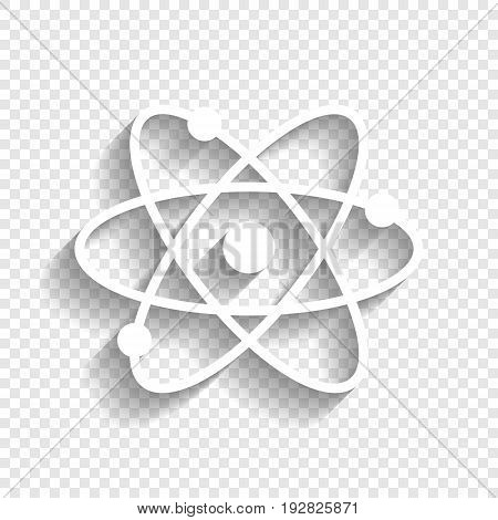 Atom sign illustration. Vector. White icon with soft shadow on transparent background.