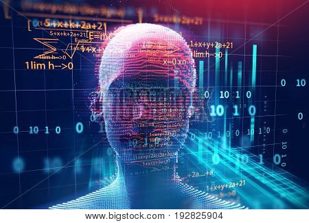 3D Rendering Of Human  On Geometric Element Technology Background