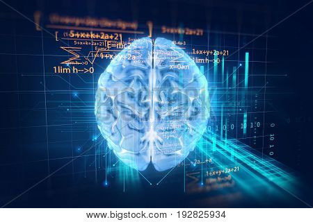 3D Rendering Of Human  Brain On Programming Language Background