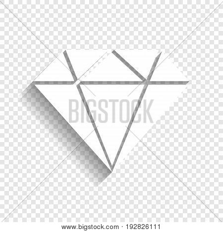Diamond sign illustration. Vector. White icon with soft shadow on transparent background.