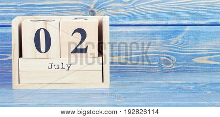 Vintage Photo, July 2Nd. Date Of 2 July On Wooden Cube Calendar