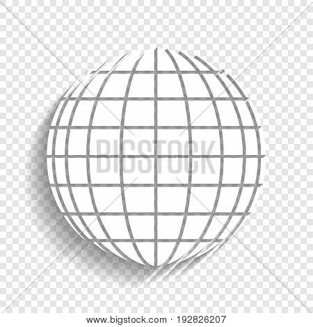 Earth Globe sign. Vector. White icon with soft shadow on transparent background.