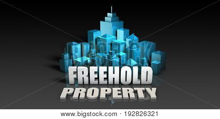 Freehold Property Concept in Blue on Black Background 3D Illustration Render