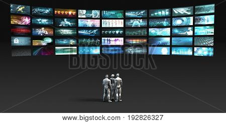 People Looking into Video Wall Screens in 3d 3D Illustration Render