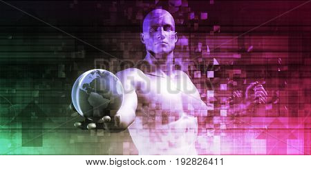 Market Leader with Worldwide Business Concept Abstract 3D Illustration Render