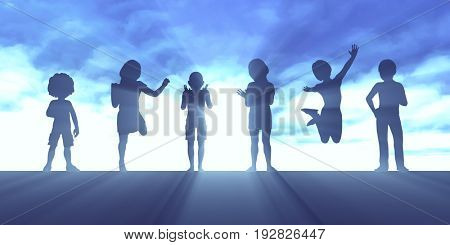 Nurturing Children Through Love and Education as Concept 3D Illustration Render