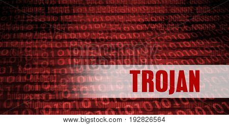 Trojan Security Warning on Red Binary Technology Background