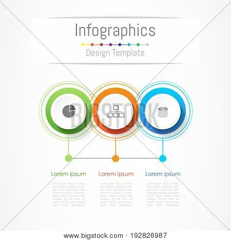 Infographic design elements for your business with 3 options, parts, steps or processes, Vector Illustration.