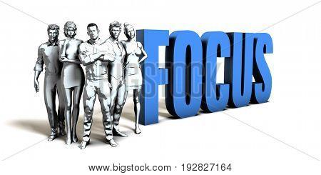 Focus Business Concept as a Presentation Background 3D Illustration Render