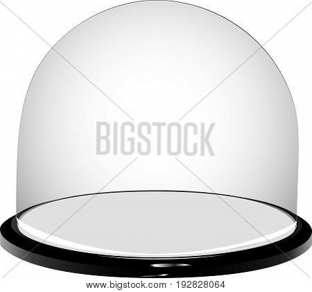 Glass container with a plastic base - Glass display dome