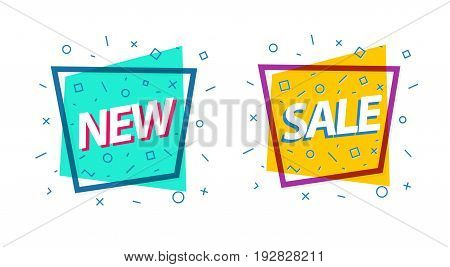 Sale banner set green and yellow color with frame and different shapes with sign new for special offer, promotion, sale, black friday, advertisement, hot price and discount poster.