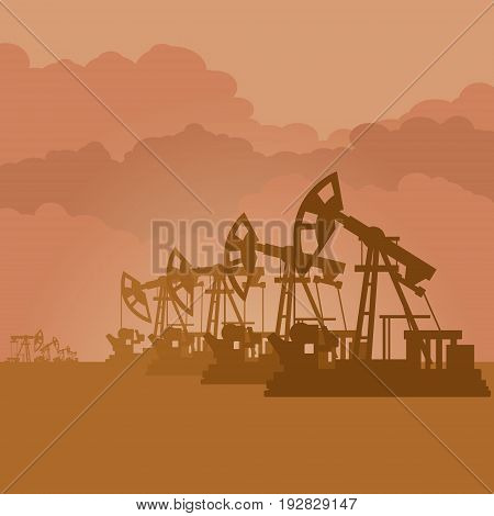 Oil pumps pump oil. The illustration on a brown background.