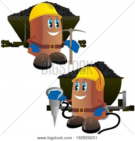 Abstract image of a miner with a working tool on the background of trucks with coal. The illustration on a white background.