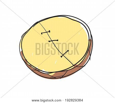 Shamanic tambourine hand drawn icon isolated on white background vector illustration. Northern ethnic culture element vector illustration.