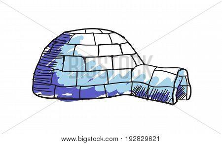 Eskimo igloo hand drawn icon isolated on white background vector illustration. Northern ethnic culture element vector illustration.