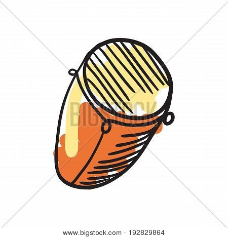 African djembe drum hand drawn icon isolated on white background vector illustration. African ethnic culture element.