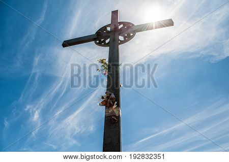 San Miguel Cross at the Montserrat Monastery located on the mountain of Montserrat nearby from Barcelona. Catalonia. Spain