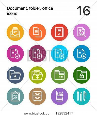 Colorful Document, folder, office icons for web and mobile design pack 1