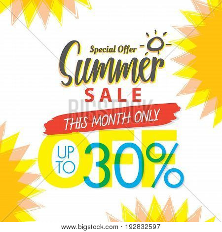Summer Sale Set V.4 30 Percent Colorful Heading Design For Banner Or Poster. Sale And Discounts Conc