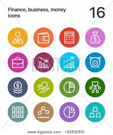 Colorful Finance, business, money icons for web and mobile design pack 1