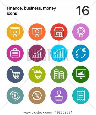 Colorful Finance, business, money icons for web and mobile design pack 4