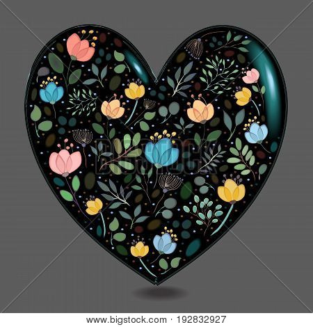 Black Glared Heart with Floral Decor. Colorful graceful flowers plants and blurs with watercolor effect. Gray background. Vector Illustration