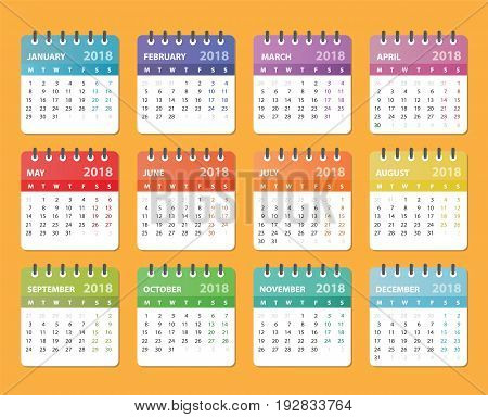 2018 year calendar, calendar design 2018 starts monday