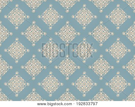 Elegant golden knot sign. Blue and beige pastel seamless pattern beautyful calligraphic flourish with pearls. Raster illustration.