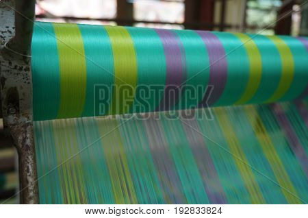 The Colorful Silk on the Weaving loom