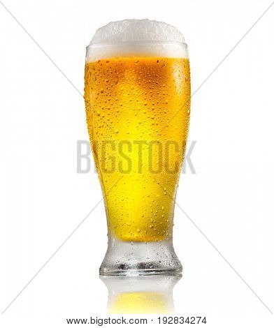 Beer. Cold Craft light and dark Beer in a glass with water drops. Craft Beer close up isolated on white background